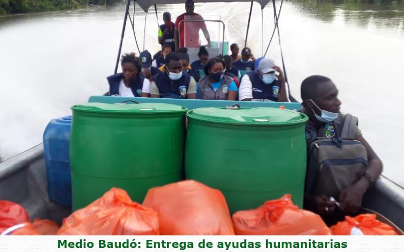 Administración municipal del Medio Baudó brinda asistencia humanitaria a damnificados por la ola invernal.