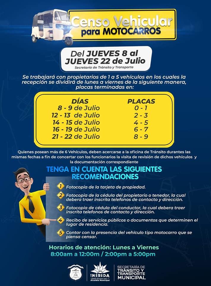 Alcaldía realiza censo de motocarros en Inírida