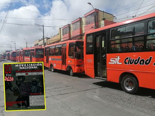 Ante protestas del 20J unos 400 buses dejarán de circular hoy en Pasto