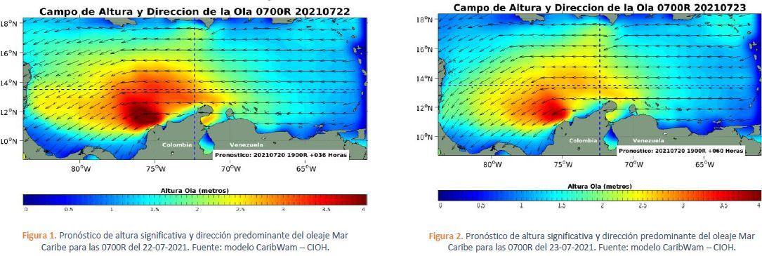 Anuncian incremento en intensidad del viento y altura del oleaje en el Caribe colombiano