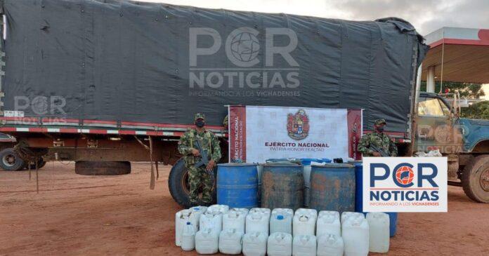 EJÉRCITO NACIONAL INCAUTA MÁS DE 600 GALONES DE COMBUSTIBLE DE CONTRABANDO EN CUMARIBO, VICHADA