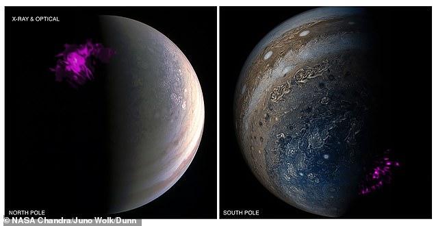 Imágenes superpuestas del polo de Júpiter del satélite Juno de la NASA y el telescopio de rayos X Chandra de la NASA.  La izquierda muestra una proyección de la aurora de rayos X del norte de Júpiter (púrpura) superpuesta sobre una imagen Junocam visible del Polo Norte.  La derecha muestra la contraparte del sur