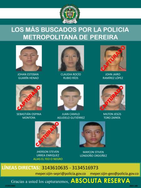 Estos son los delincuentes más buscados en Pereira, Dosquebradas y La Virginia