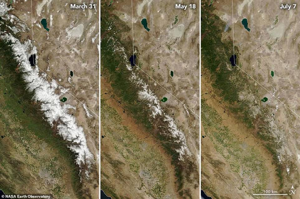 Las imágenes de satélite de la NASA comparan la cordillera de Sierra Nevada el 31 de marzo, el 18 de mayo y el 7 de julio y muestran progresivamente menos nieve de montaña en cada foto.