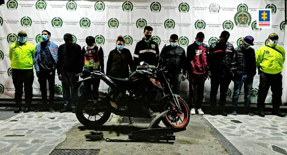 Judicializados ocho presuntos integrantes del grupo delincuencial Los Correcaminos por hurto de motocicletas en Bogotá