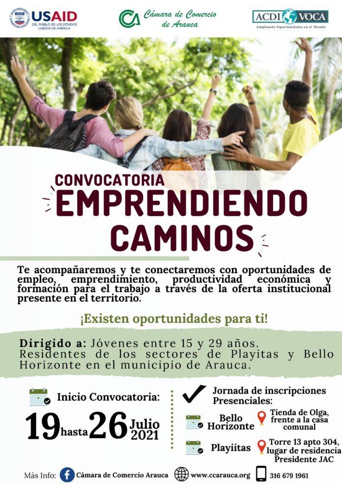 La Cámara de Comercio de Arauca en apoyo con ACDI/VOCA y USAID abren nueva convocatoria de oportunidades para jóvenes de Arauca.