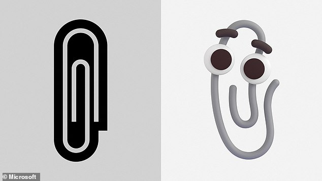 El nuevo emoji de Clippy (derecha) reemplazará a un emoji de clip bastante aburrido, largo y plano (izquierda) en Office