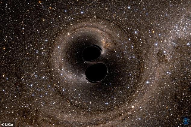 El equipo hizo este avance utilizando datos de GW150914, las primeras ondas gravitacionales detectadas, que fueron creadas por dos agujeros negros inspiradores (impresión artística) que formaron uno nuevo, un par que liberó una gran cantidad de energía ondulante a través del espacio-tiempo.