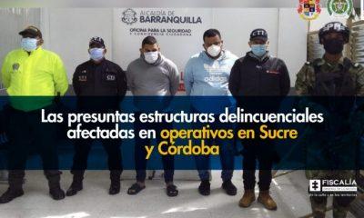 Las presuntas estructuras delincuenciales afectadas en operativos en Sucre y Córdoba