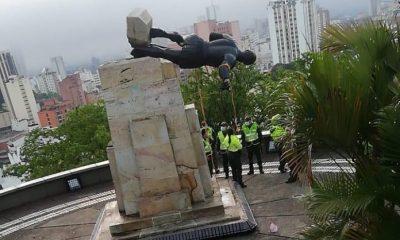 de la demolida estatua de Cali-Belalcázar