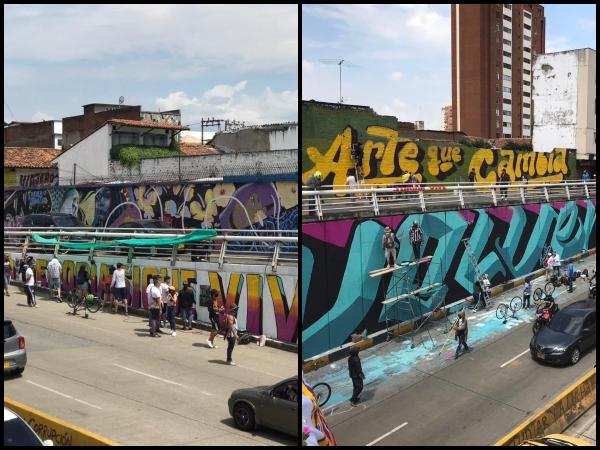 """Son """"murales con mensajes de paz y reconciliación"""", el otro """"pintatón"""" en la Calle 5 de Cali"""