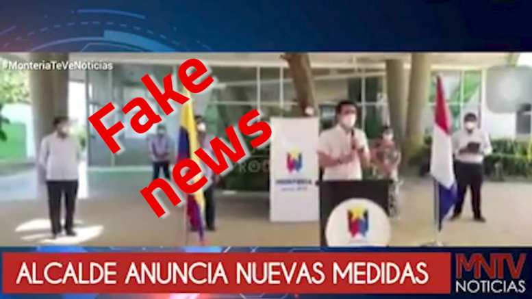 Vídeo donde el alcalde anuncia medidas restrictivas para Montería es falso