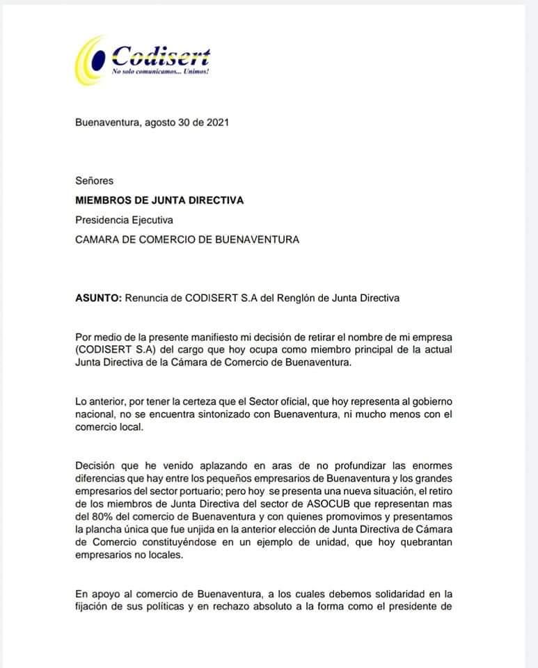 La empresa de televisión por cable también renuncia ante la cámara de comercio en Buenaventura