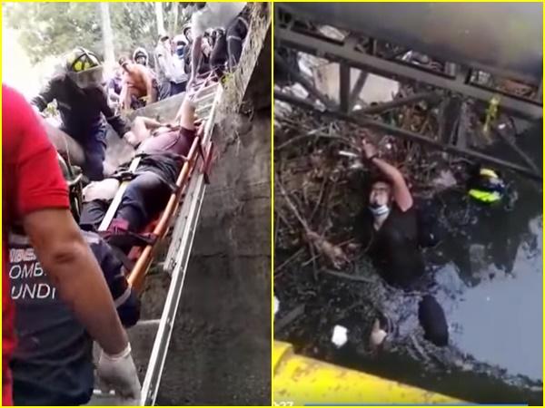 La motocicleta chocó con un automóvil y se cayó a la tubería de agua de lluvia, le pasó a Jamundi