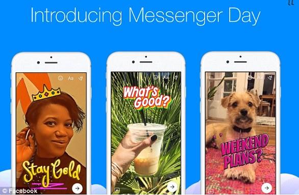 En marzo, Facebook presentó el 'Messenger Day', que permite a los usuarios compartir fotos y videos con filtros ilustrados y pegatinas que desaparecen en 24 horas, al igual que las Historias de Snapchat.