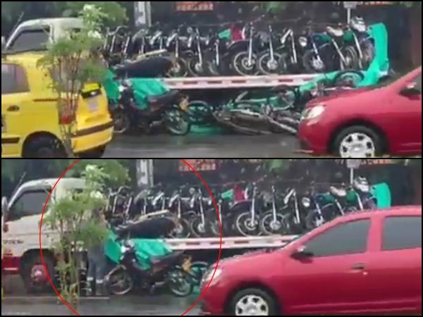 """""""¿Y ahora quién responde a los dueños?"""": Varias motos cayeron de una grúa en Pasoancho - Noticias de Colombia"""