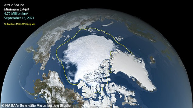 El hielo marino en el Ártico cayó a un área de solo 1.82 millones de millas cuadradas el 16 de septiembre, su decimosegunda extensión más baja registrada, según reveló la NASA.  En la imagen: área mínima de hielo marino de este año, en comparación con el mínimo promedio de verano de 1981-2010 (mostrado en amarillo)