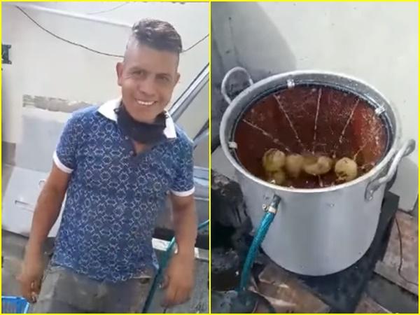El creativo 'pelador de papas' fabricado en Nariño y que piden que sea patentado