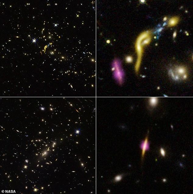 Seis galaxias muertas han estado en el espacio profundo, aproximadamente a 11 mil millones de años luz de distancia.  Las seis galaxias se conocen como MRG-M1341 (en la imagen superior izquierda y derecha), MRG-M0138, MRG-M2129 (en la imagen inferior izquierda y derecha), MRG-M0150, MRG-M0454 y MRG-M1423