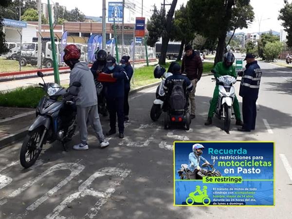 En Pasto Tránsito recordó cuales son las medidas que regirán para conductores de motos