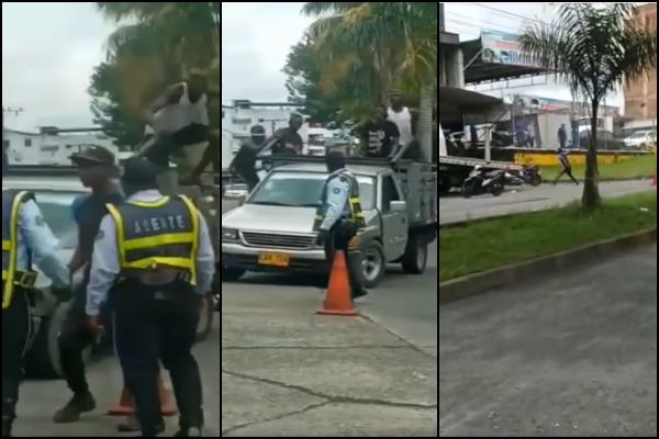 Piedra, machete y palo en enfrentamiento entre agentes de tránsito y supuestos infractores en Buenaventura