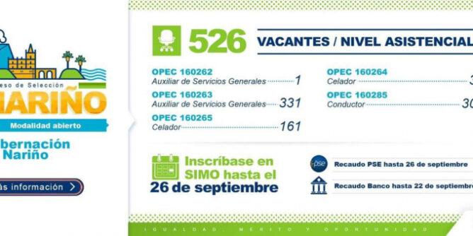 Inscripciones a más de 500 vacantes del nivel asistencial de la Gobernación de Nariño - Noticias de Colombia