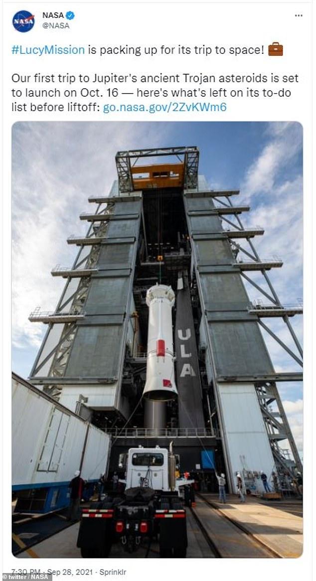 La misión de la NASA para estudiar los asteroides troyanos se lanzará el 16 de octubre, dijo la agencia espacial el martes por la noche.