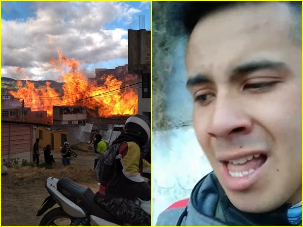 """""""No pudimos salvar mi casa, todo quedó en llamas, solo pido que me ayuden con trabajo"""", el drama de Alexis tras el incendio en Pasto"""