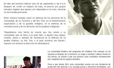Repudio en el municipio de Acandí – Chocó, por asesinato del joven exgobernador indígena; Efrén Antonio Bailarín Carupia. - Noticias de Colombia