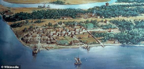 El pasado de Virginia: una pintura que sugiere cómo era Jamestown a principios del siglo XVII, cuando fue el primer asentamiento inglés exitoso.