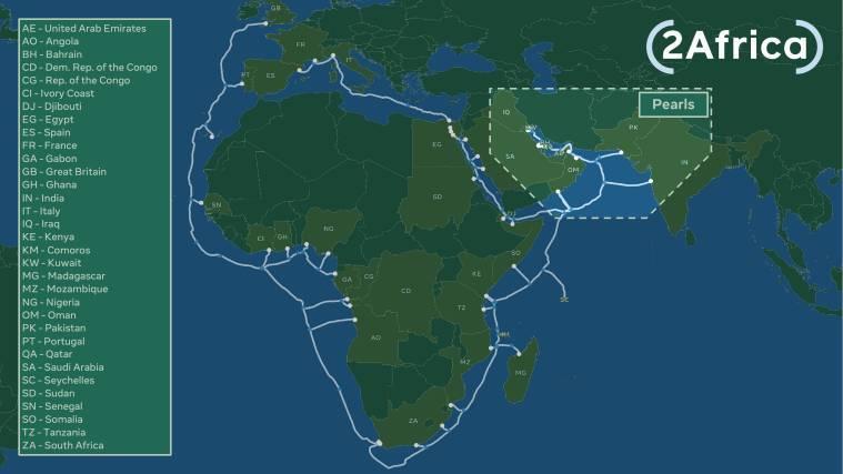 Facebook, conectividad de Facebook, cable submarino transatlántico de Facebook, Facebook 2Africa Pearls, Facebook Terragraph