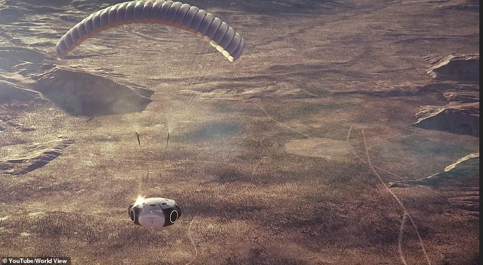 Impresión artística de la cápsula que regresa a la Tierra sobre el desierto de Arizona.  Los vuelos futuros operarán desde lugares hermosos de todo el mundo.